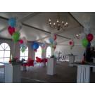 Tafeldecoratie met 5 ballonnen